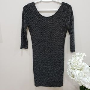 Topshop Body Con Dress Black with Silver